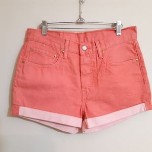 Levi's 501 coral red  denim shorts